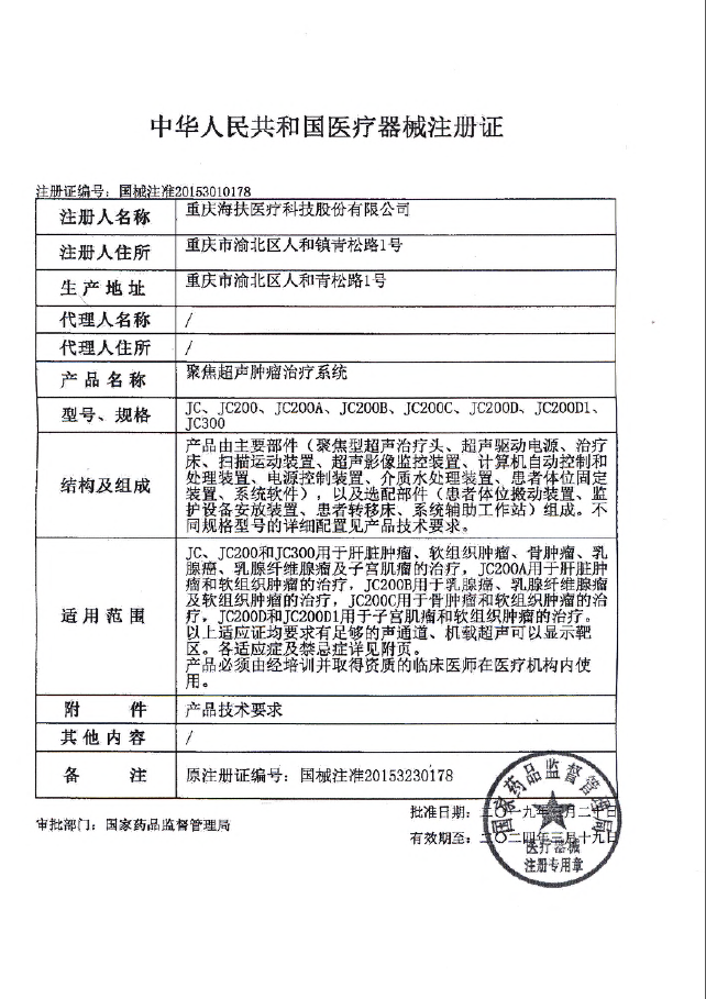 Registration Certificate for Medical Device of China (SFDA)