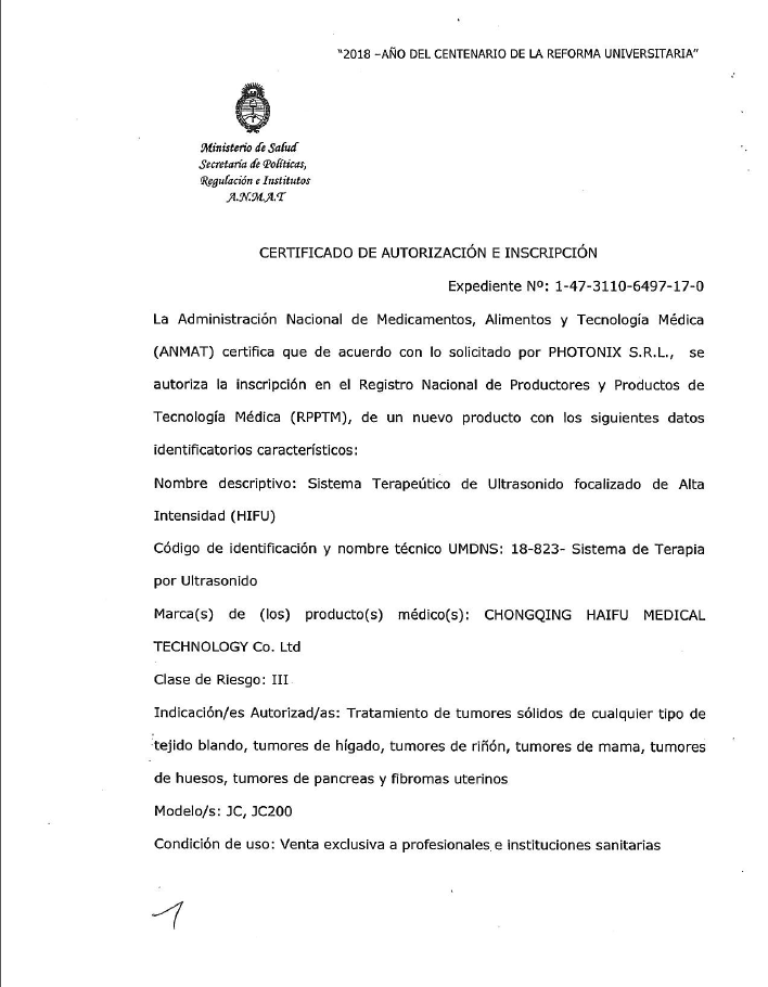 Certificate of ANMAT (Argentina)